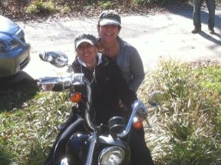 Janna And Leslie On John's Motorcycle