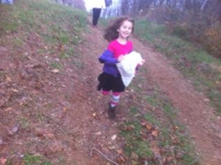 Stella running down hill